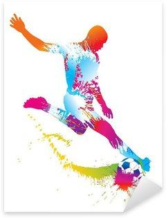 Sticker Pixerstick Football joueur botte le ballon. Vector illustration.