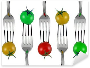 Sticker Pixerstick Forchette e pomodorini colorati