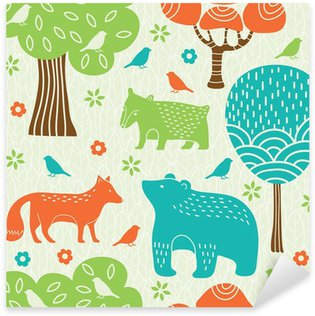 Forest animals seamless pattern Pixerstick Sticker