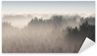 Sticker Pixerstick Forêt de pins dense dans la brume du matin.