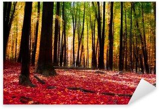 Sticker Pixerstick Forêt en automne avec la lumière d'or