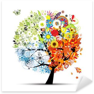 Sticker - Pixerstick Four seasons - spring, summer, autumn, winter. Art tree