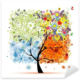 Four seasons - spring, summer, autumn, winter. Art tree Sticker - Pixerstick