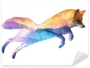 Fox double exposure illustration Sticker - Pixerstick
