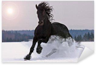 Pixerstick Sticker Friese paard op sneeuw