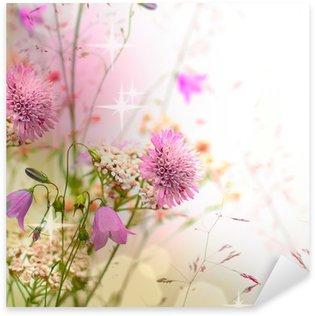 Sticker Pixerstick Frontière floral - fleur, beau fond flou