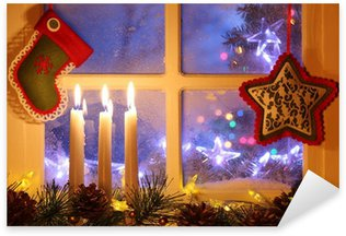 Sticker - Pixerstick Frosted window with Christmas decoration