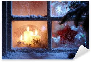 Frosted window with Christmas decoration Sticker - Pixerstick