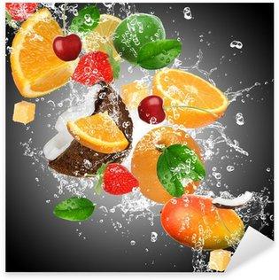 Sticker Pixerstick Fruit avec les projections d'eau