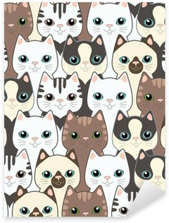 Sticker - Pixerstick Funny cartoon cats. Seamless pattern