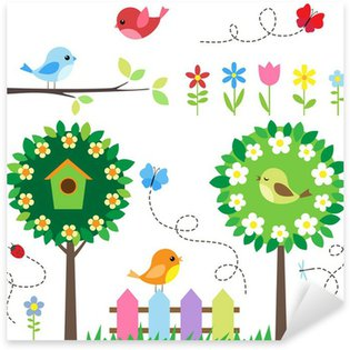 Sticker - Pixerstick Garden set with birds, blooming trees, flowers and insects.