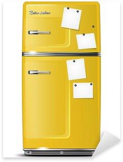 Pixerstick Sticker Geel retro koelkast met papier stickies voor uw berichten