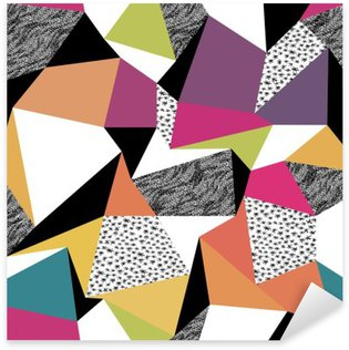 Geometric seamless pattern in retro style. Vintage background. C Sticker - Pixerstick