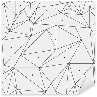 Sticker - Pixerstick Geometric simple black and white minimalistic pattern, triangles or stained-glass window. Can be used as wallpaper, background or texture.