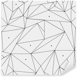 Pixerstick Sticker Geometrische eenvoudige zwart-wit minimalistische patroon, driehoeken of glas-in-lood raam. Kan worden gebruikt als achtergrond, achtergrond of textuur.