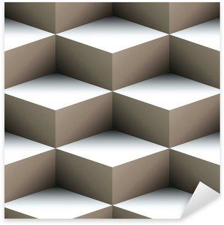 Pixerstick Sticker Geometrische naadloze patroon gemaakt van gestapelde kubussen