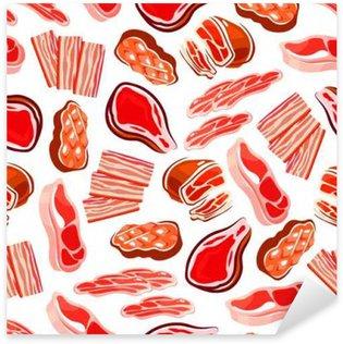 Pixerstick Sticker Gerookt en gegrild vlees naadloos patroon