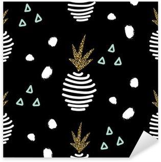 Glitter black scandinavian striped pineapple ornament. Vector gold seamless pattern collection. Modern shimmer details stylish texture. Sticker - Pixerstick