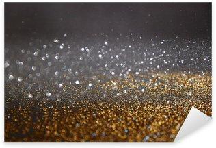glitter vintage lights background. gold, silver, blue and black. de-focused. Sticker - Pixerstick