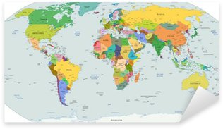 Sticker - Pixerstick Global political map of the world, vector