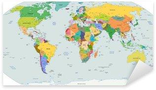 Pixerstick Sticker Globale politieke kaart van de wereld, vector