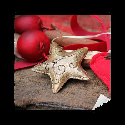 sticker goldener stern zur weihnachten pixers nous. Black Bedroom Furniture Sets. Home Design Ideas