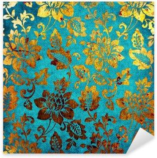 Pixerstick Sticker Gouden-blauwe vintage achtergrond