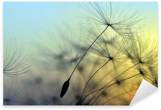 Pixerstick Sticker Gouden zonsondergang en paardebloem, meditatieve zen achtergrond