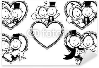 Pixerstick Sticker Grappig huwelijk beeldverhaalportret