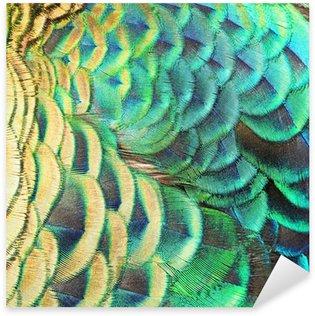 Sticker - Pixerstick Green Peacock feathers