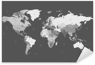 Sticker Pixerstick Gris carte mondiale détaillée
