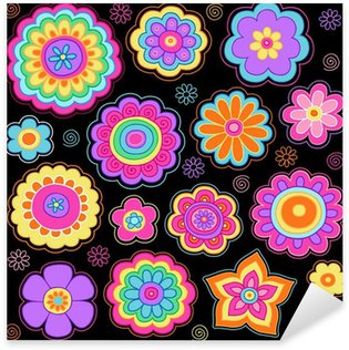 Groovy Flower Power Doodles Psychedelic Design Elements Sticker - Pixerstick