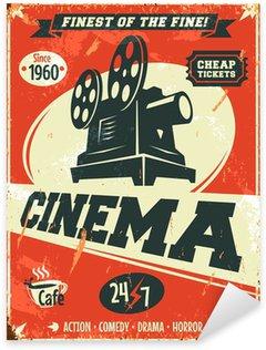 Sticker Pixerstick Grunge affiche de cinéma rétro. Vector illustration.