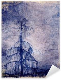 Sticker - Pixerstick Grunge background with larch tree