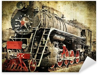 Sticker Pixerstick Grunge locomotive à vapeur