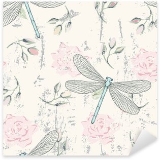 Sticker - Pixerstick grungy floral seamless pattern with dragonflies