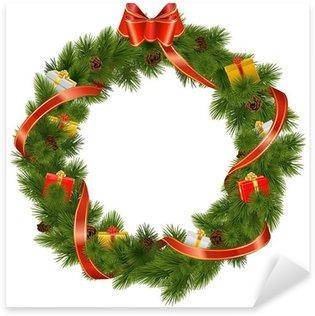 Sticker Pixerstick Guirlande de Noël avec des cadeaux Vecteur