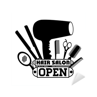 Sticker hair salon design pixers nous vivons pour changer for Stickers salon design