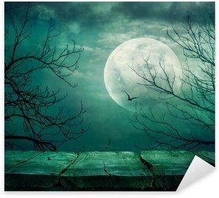 Sticker - Pixerstick Halloween background with table