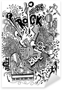 Sticker - Pixerstick Hand drawing Doodle,Collage with musical instruments
