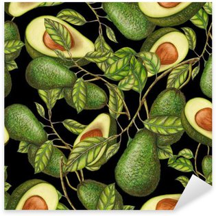Sticker - Pixerstick Hand drawn avocados on dark background, seamless pattern
