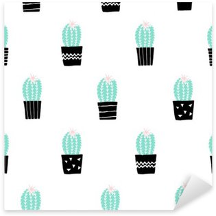 Sticker Pixerstick Hand Drawn Cactus Motif