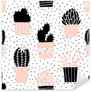 Hand Drawn Cactus Pattern Sticker - Pixerstick