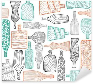 Hand drawn colorful seamless doodle pattern with different bottles.