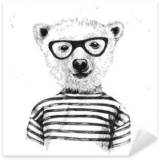 Sticker - Pixerstick Hand drawn Illustration of dressed up hipster bear