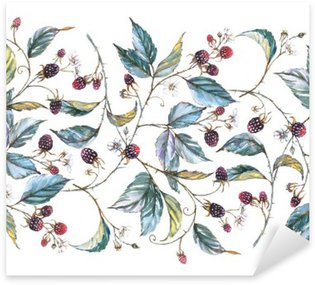 Sticker - Pixerstick Hand-drawn watercolor seamless ornament with natural motives: blackberry branches, leaves and berries. Repeated decorative illustration, border with berries and leaves