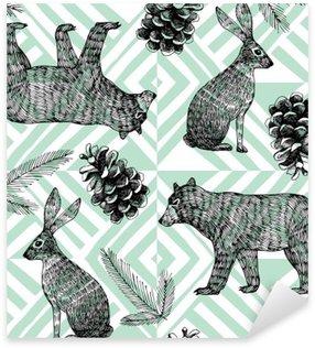 hand drawn winter trendy pattern, geometric background Sticker - Pixerstick