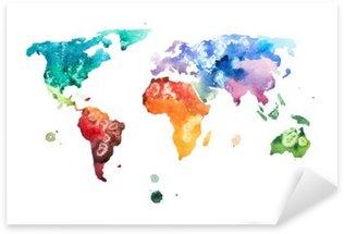 Pixerstick Sticker Hand getekende aquarel wereldkaart aquarelle afbeelding.