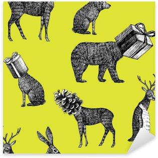 Pixerstick Sticker Handgetekende winter dieren naadloze achtergrond