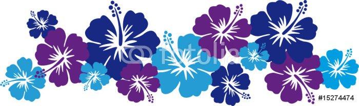 Sticker - Pixerstick Hawaiiblumen blau (Bordüre) - Flowers